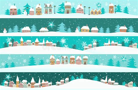 winter banners  cartoon houses stock vector illustration  christmas house
