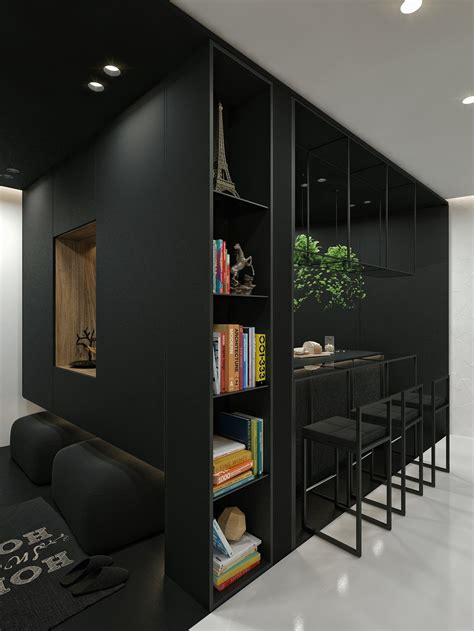 black  white interior design ideas modern apartment