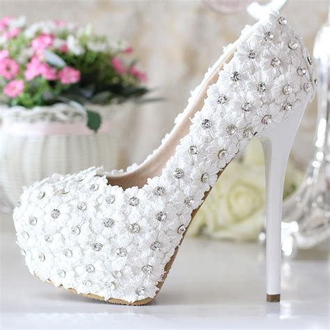 Womens White Wedding Shoes by Buy Handmade High Heels White Wedding Shoes Lace