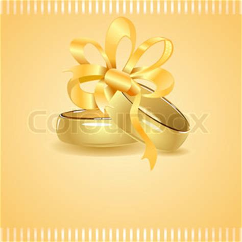 two golden wedding rings tied up with ribbon | vector