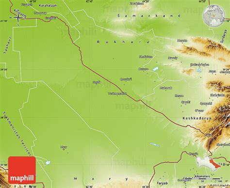 physical map of turkmenistan physical map of chardzhou