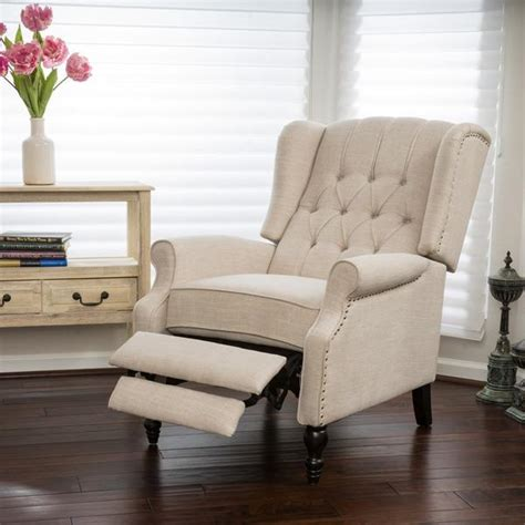 recliner cing chair reclining wingback chairs knight home walter light beige