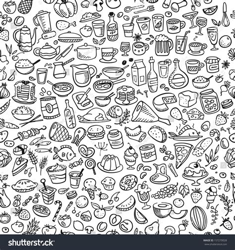 doodle food eps doodle food icons seamless background stock vektor
