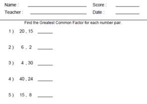 gcf worksheets 6th grade abitlikethis