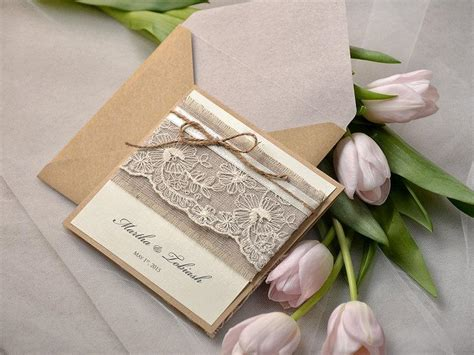rustic twine wedding invitations rustic wedding invitations 20 lace wedding invites pocket fold invitations twine wedding