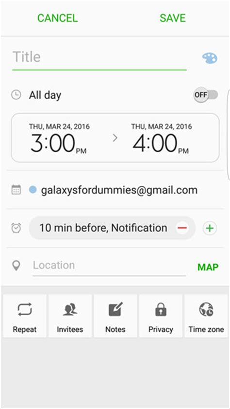 Create Calendar Event Creating Editing And Deleting Galaxy S7 Calendar Events