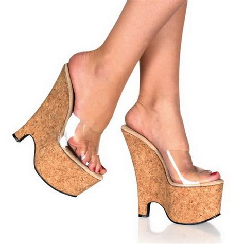 Wedges 5cm 16 transparent 16 5 cm pleaser beau 601 cork platform wedge mules comprar en l 237 nea