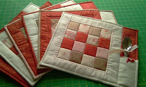 Patchwork Placemat Patterns - pdf pattern for 6 quilted placemats coasters by