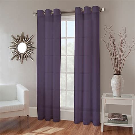 eggplant curtains window treatments crushed voile grommet sheer window panel bedbathandbeyond ca
