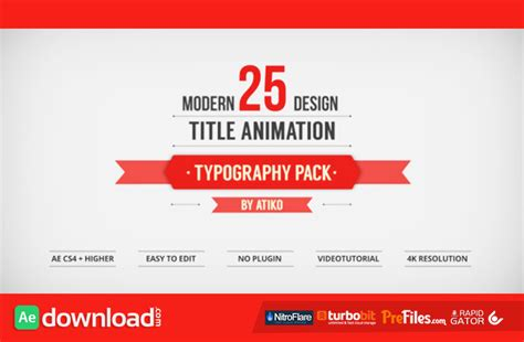 title templates after effects free download videohive 25 design titles animation typography pack