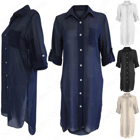 New Blouse Dress new chiffon split sides blouse shirt 3 4