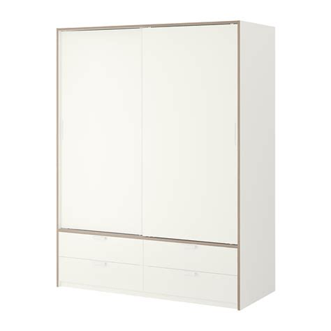 T T Wardrobes by Trysil Wardrobe W Sliding Doors 4 Drawers White Light Grey Ikea