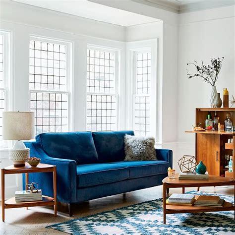 west elm paidge sleeper sofa reviews paidge sleeper sofa ink blue performance velvet west elm