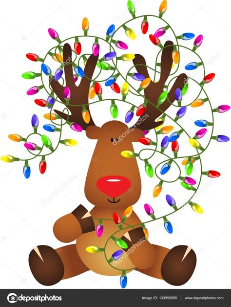 with lights reindeer with lights stock vector