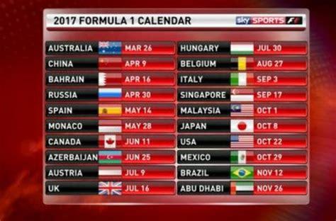 F1 Calendar 2019 Formula 1 Calendario 2017 Orari Tv Sky E Di Tutti I Gp