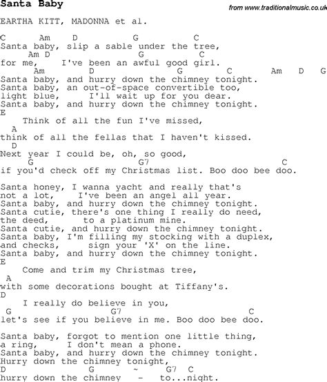 testo in baby carol song lyrics with chords for santa baby