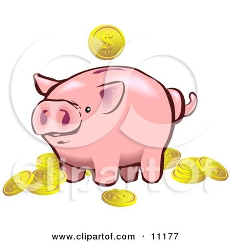 clipart of a black and white pig in profile royalty free