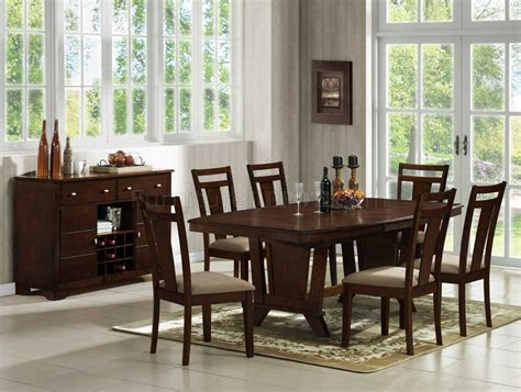 Wood Dining Room Furniture Furniture Brown Varnish Wooden Dining Table Sets With Eight Chair Using Black Iron Spat Back