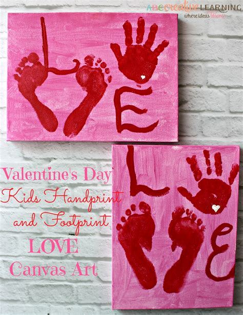 what day does valentines day fall on valentine s day handprint and footprint canvas