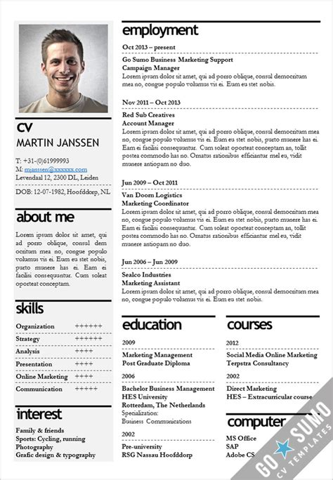 templates cv it cv template kopenhagen go sumo cv template