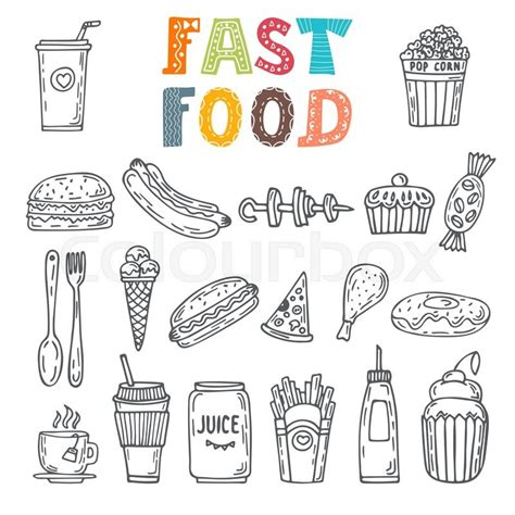 fast food doodle vector set of fast food collection of various