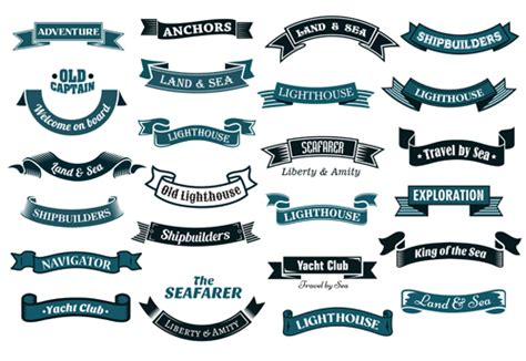 free ribbon vector banner set in ai eps cdr format nautical ribbon banners vector set vector banner free