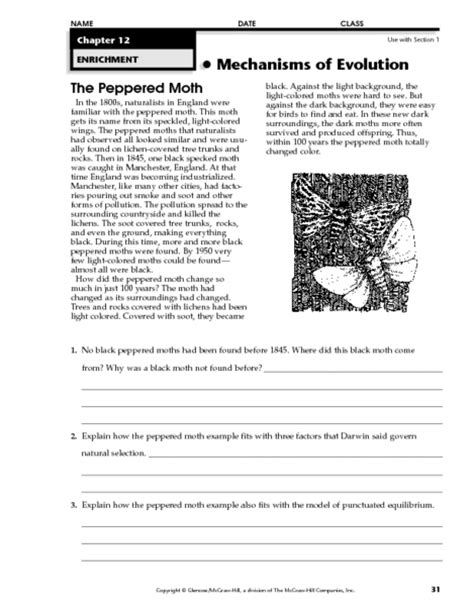 Peppered Moth Simulation Worksheet Answers by Peppered Moth Worksheet Mmosguides
