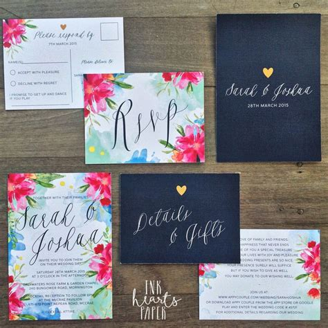 Handmade Wedding Invitations Australia - bright pink blue navy floral watercolor watercolour gold