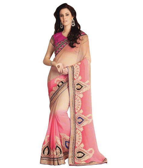 Kalista Pink kalista pink faux chanderi saree buy kalista pink faux chanderi saree at low price