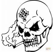 Undead Skull With A Celtic Cross Coloring Page  Free