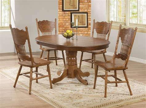 5 pc country oak wood dining room set pedestal base 18
