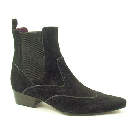 mens beatle boots buy black suede heel beatle boots for gucinari