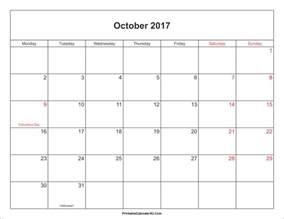 october 2017 calendar with holidays monthly calendar 2017