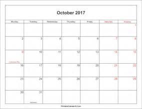october 2017 calendar printable with holidays 2017