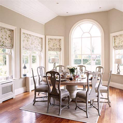 Country Homes And Interiors Recipes Neutral Dining Room With Arched Window Decorating Ideal Home
