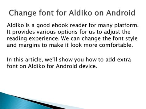 font style changer for android change font for aldiko on android