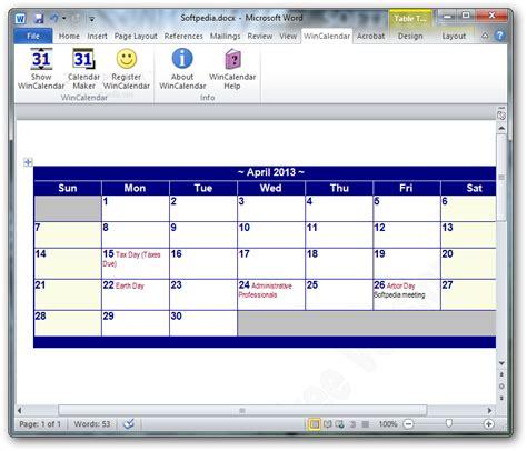 Win Calendar Wincalendar Calendar Software For Windows Word
