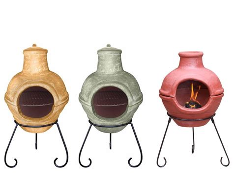 Two Clay Chiminea Two Part Bbq Clay Chiminea