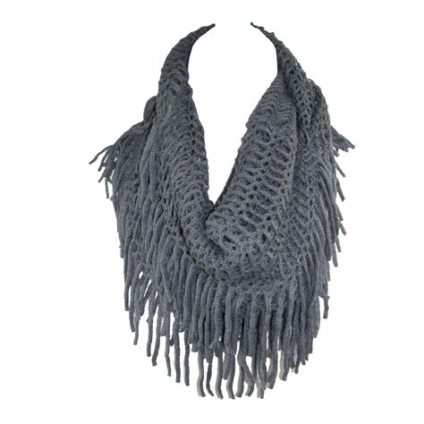 fringed scarf womens fringed knit infinity loop scarf by ctm