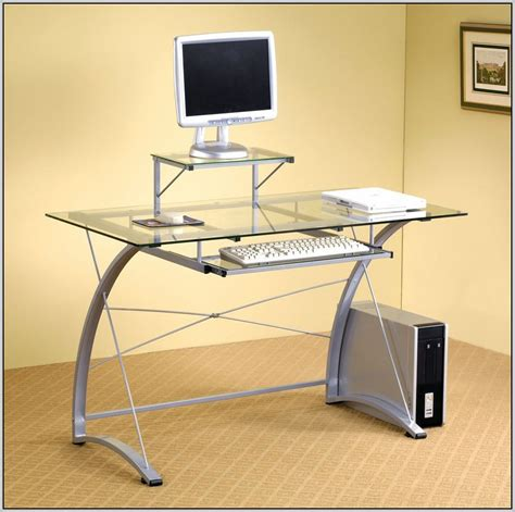 Glass Table Top Computer Desk Glass Top Computer Table Gxg Glass Top Computer And Study Table With Wheels Buy