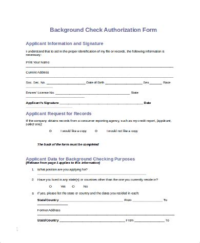 10 Sle Background Check Forms Sle Templates Background Check Authorization Form Template