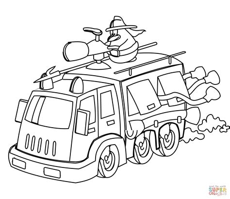 Cartoon Fire Truck Coloring Page Free Printable Coloring Firetruck Coloring Pages