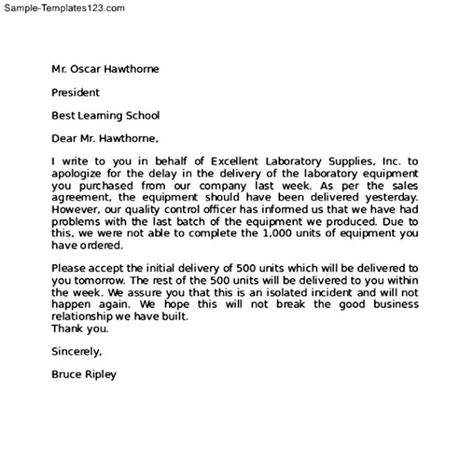 Letter For Work Delay Apology Letter To Client For Delay In The Delivery Of Laboratory Equipment Thogati