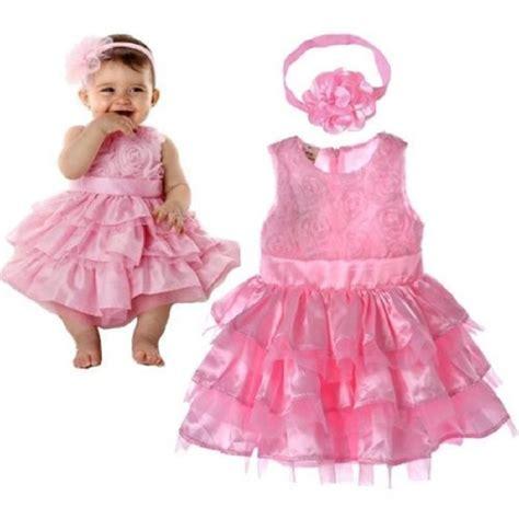 Dress Am Garden Pink 2017 new garden pink rosette silk dress easter flower baby wedding new headband in