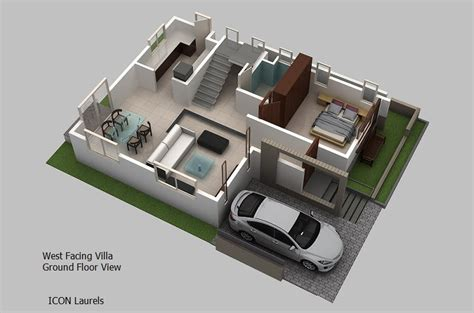 home design plans ground floor 3d west facing plan 3 bhk duplex villas