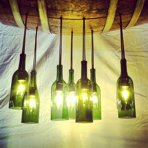 Wine Bottle Light Fixture Chandelier Wine Bottle Chandelier Up Cycled From Aged Oak By Beyondabarrel