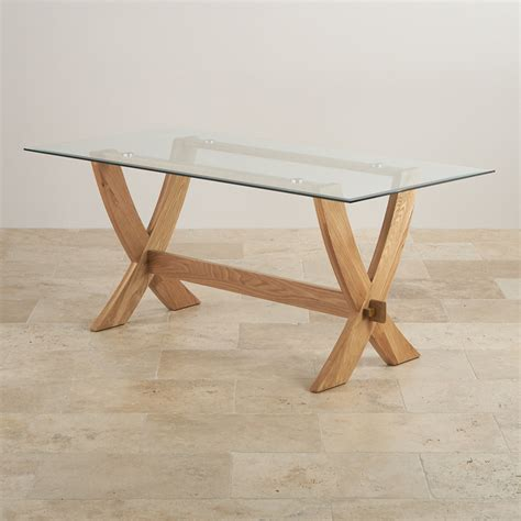 Glass Dining Table With Oak Legs Reflection Crossed Leg Dining Table With Glass Top In Solid Oak