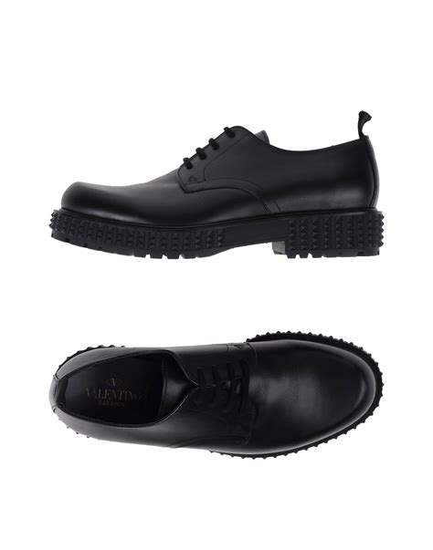 studded oxford shoes lyst valentino studded laceup oxford shoes in black for