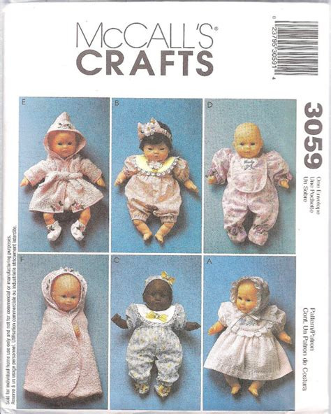 pattern doll clothes 10 inch mccalls crafts 3059 baby doll clothes pattern for 8 10 inch
