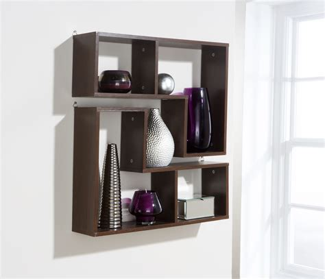 Hanging Shelf Unit by Pair Wall Hanging Shelves Walnut Decorative Storage Shelf